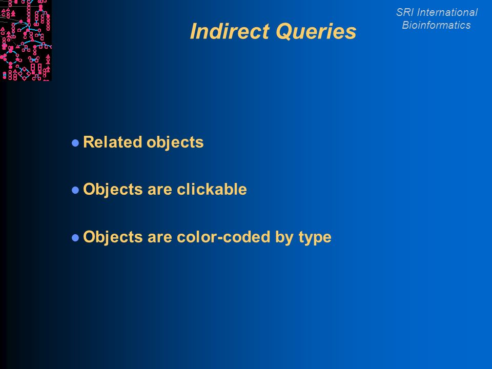 SRI International Bioinformatics Indirect Queries Related objects Objects are clickable Objects are color-coded by type