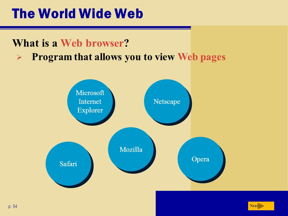 The World Wide Web What is a Web browser. p.