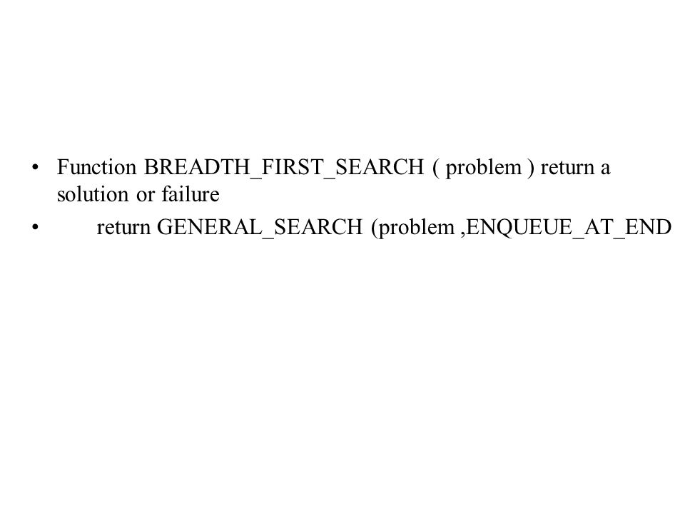 Function BREADTH_FIRST_SEARCH ( problem ) return a solution or failure return GENERAL_SEARCH (problem,ENQUEUE_AT_END