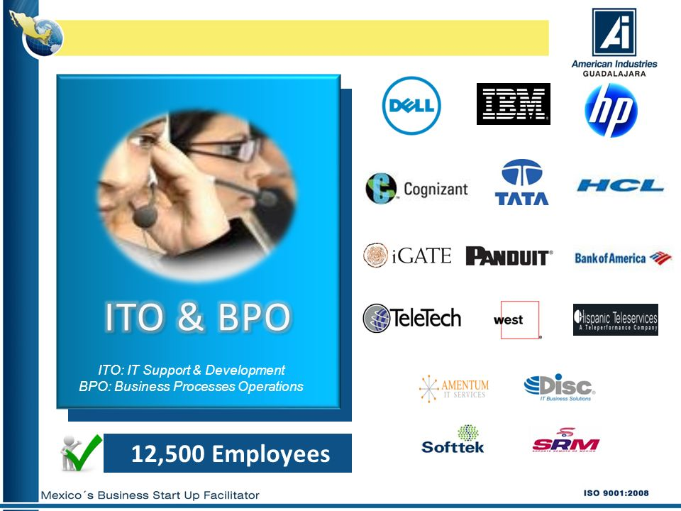 12,500 Employees ITO: IT Support & Development BPO: Business Processes Operations