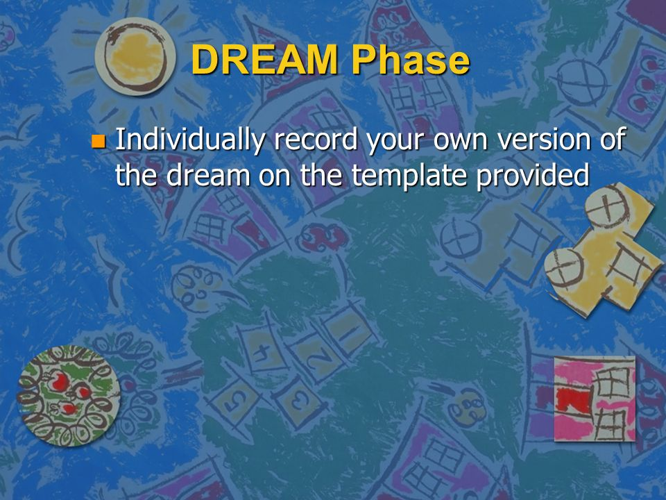 DREAM Phase n Individually record your own version of the dream on the template provided