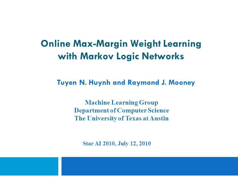 Online Max-Margin Weight Learning with Markov Logic Networks Tuyen N.