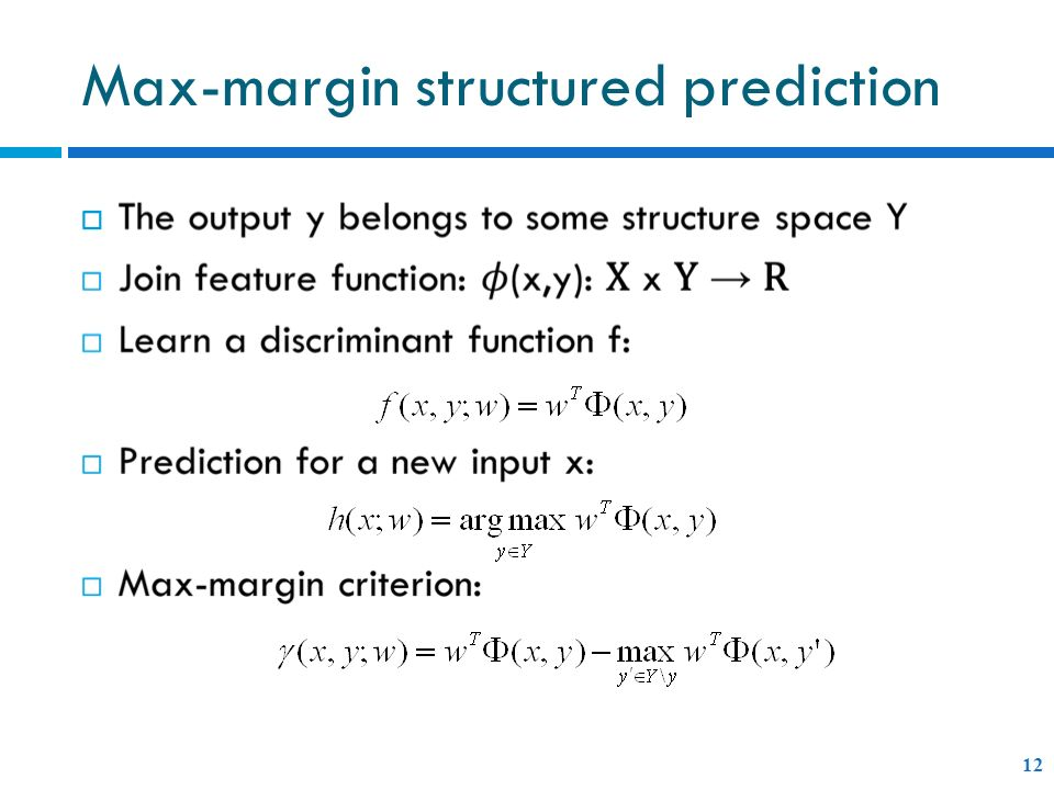 Max-margin structured prediction 12