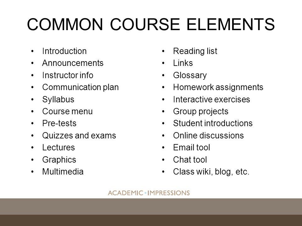 COMMON COURSE ELEMENTS Introduction Announcements Instructor info Communication plan Syllabus Course menu Pre-tests Quizzes and exams Lectures Graphics Multimedia Reading list Links Glossary Homework assignments Interactive exercises Group projects Student introductions Online discussions  tool Chat tool Class wiki, blog, etc.