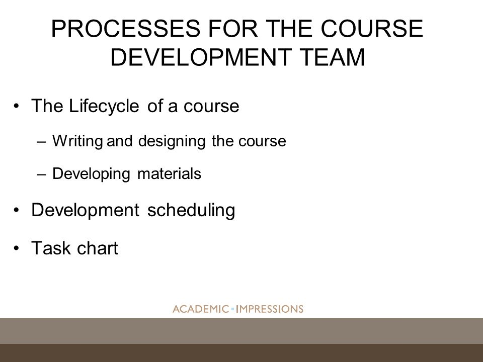 The Lifecycle of a course –Writing and designing the course –Developing materials Development scheduling Task chart PROCESSES FOR THE COURSE DEVELOPMENT TEAM