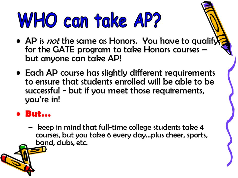 AP is not the same as Honors.