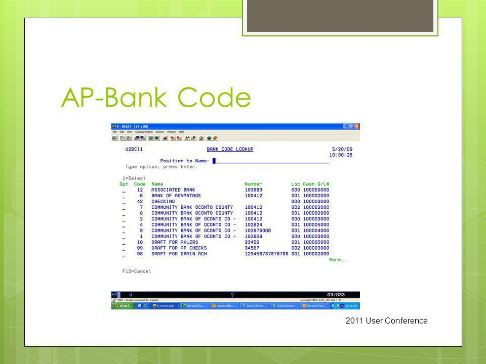 AP-Bank Code 2011 User Conference