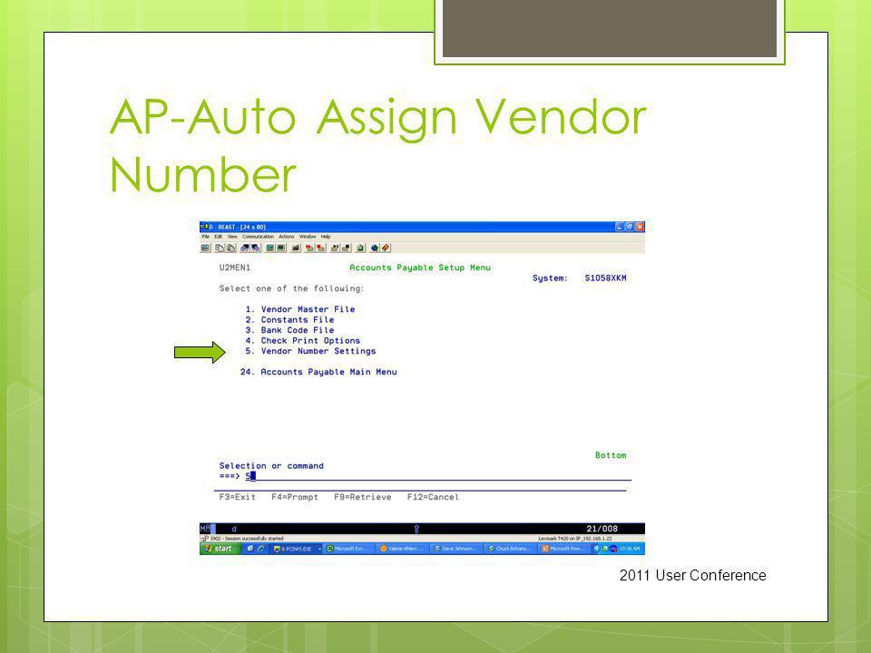 AP-Auto Assign Vendor Number 2011 User Conference