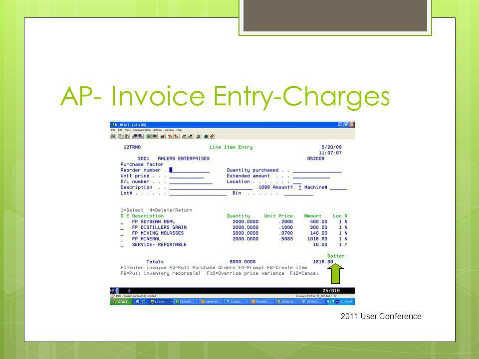 AP- Invoice Entry-Charges 2011 User Conference