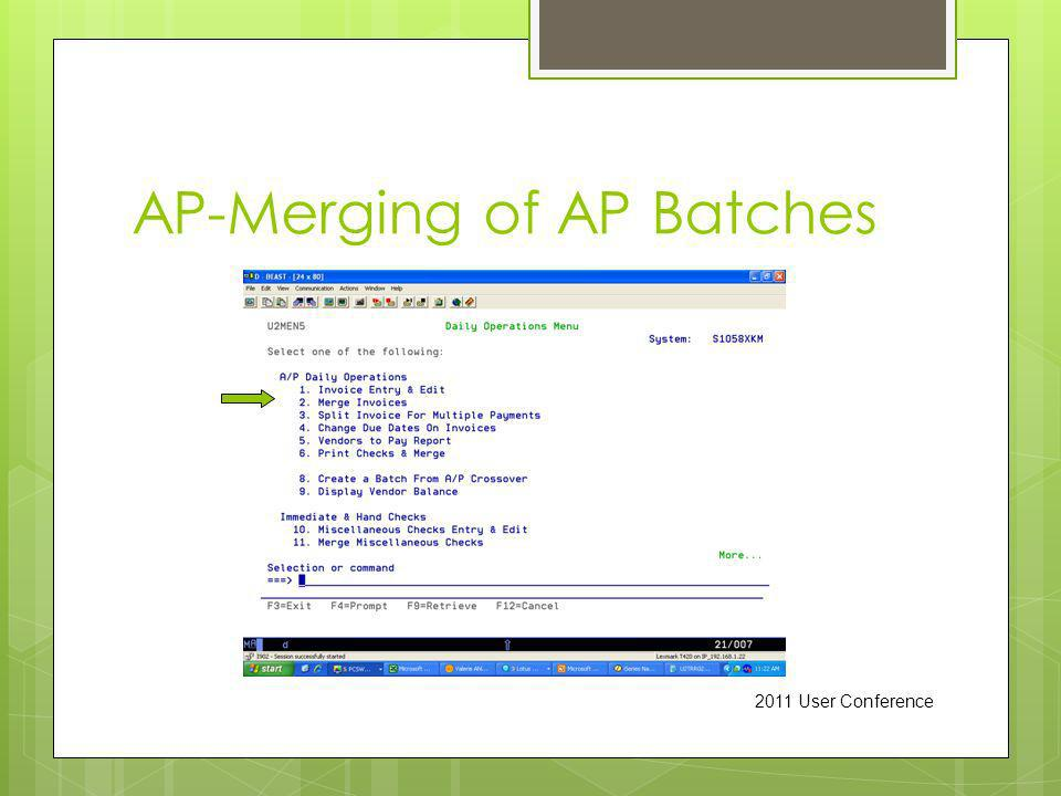 AP-Merging of AP Batches 2011 User Conference
