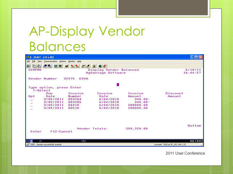 AP-Display Vendor Balances 2011 User Conference
