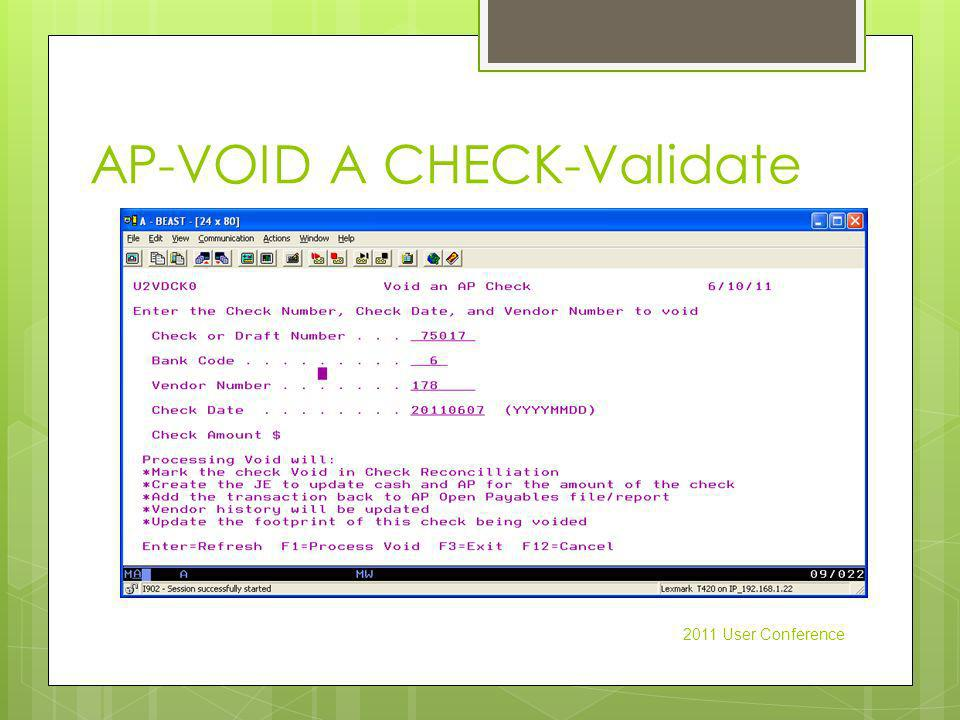AP-VOID A CHECK-Validate 2011 User Conference