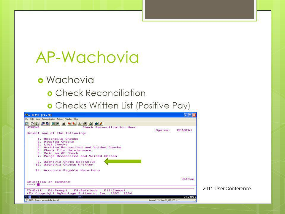 AP-Wachovia Wachovia Check Reconciliation Checks Written List (Positive Pay) 2011 User Conference