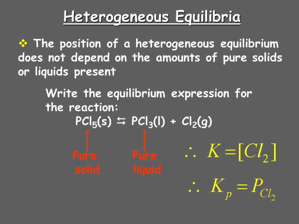 Heterogeneous Equilibria The position of a heterogeneous equilibrium does not depend on the amounts of pure solids or liquids present Write the equilibrium expression for the reaction: PCl 5 (s) PCl 3 (l) + Cl 2 (g) Pure solid Pure liquid