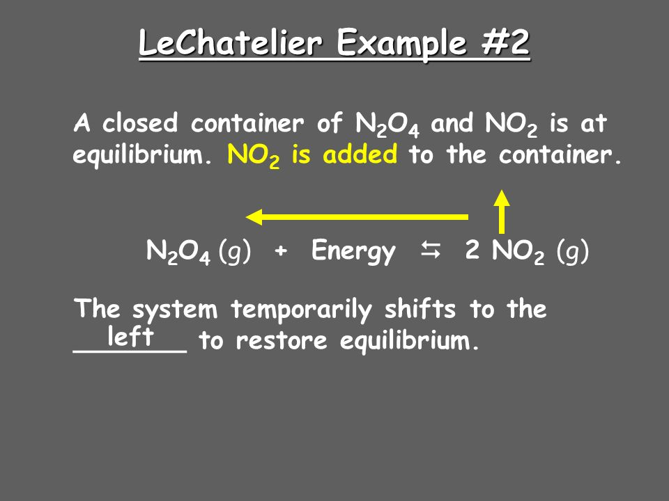 LeChatelier Example #2 A closed container of N 2 O 4 and NO 2 is at equilibrium.