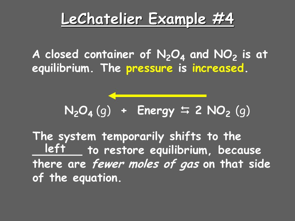 LeChatelier Example #4 A closed container of N 2 O 4 and NO 2 is at equilibrium.