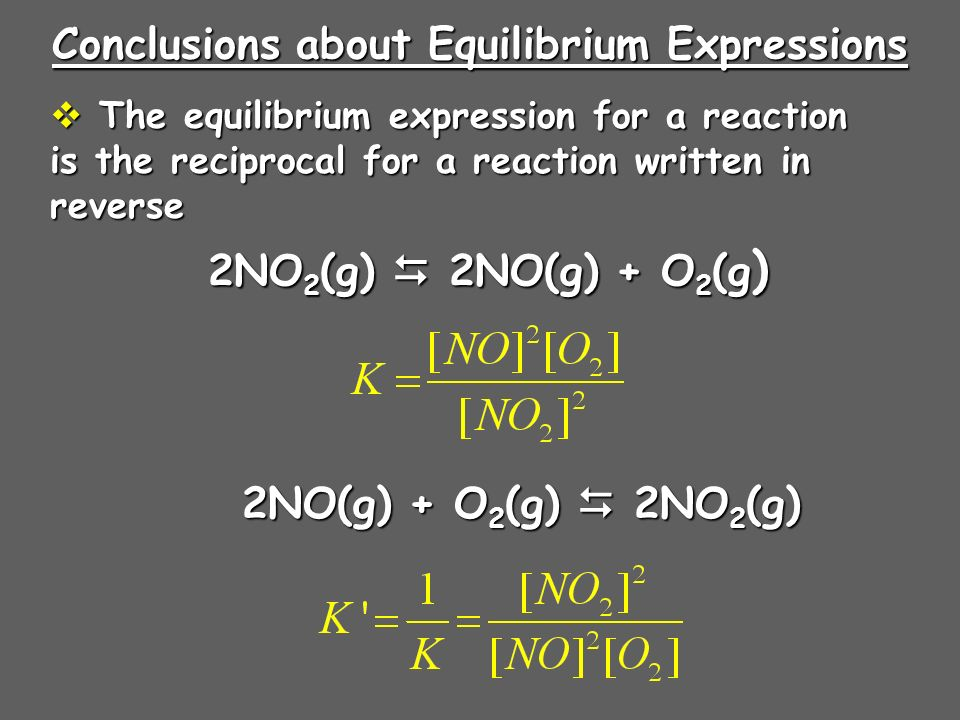 Conclusions about Equilibrium Expressions The equilibrium expression for a reaction is the reciprocal for a reaction written in reverse The equilibrium expression for a reaction is the reciprocal for a reaction written in reverse 2NO 2 (g) 2NO(g) + O 2 (g ) 2NO(g) + O 2 (g) 2NO 2 (g)