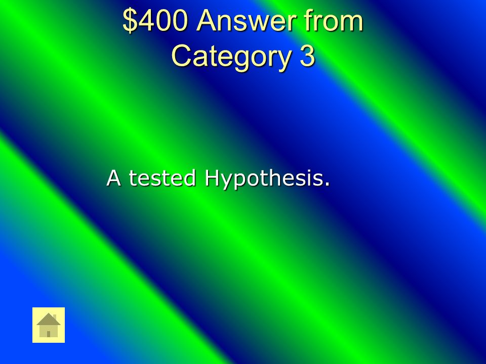$400 Scientific Method Question What is a Theory