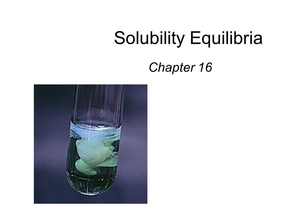 Solubility Equilibria Chapter 16