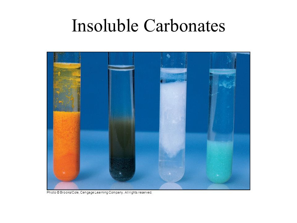 Insoluble Carbonates Photo © Brooks/Cole, Cengage Learning Company. All rights reserved.
