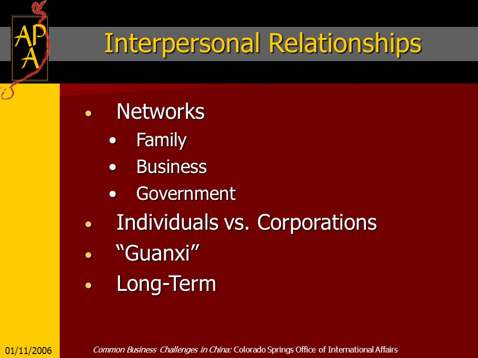 Interpersonal Relationships Networks Networks FamilyFamily BusinessBusiness GovernmentGovernment Individuals vs.