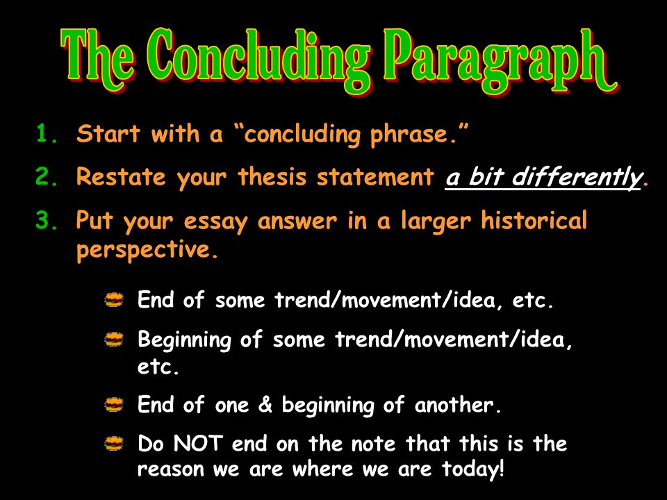 1.Start with a concluding phrase. 2.Restate your thesis statement a bit differently.