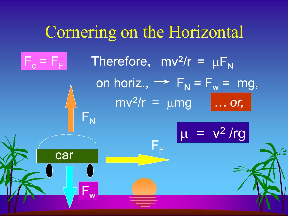 Cornering on the Horizontal When an object is caused to travel in a circular path because of the force of friction, then,...