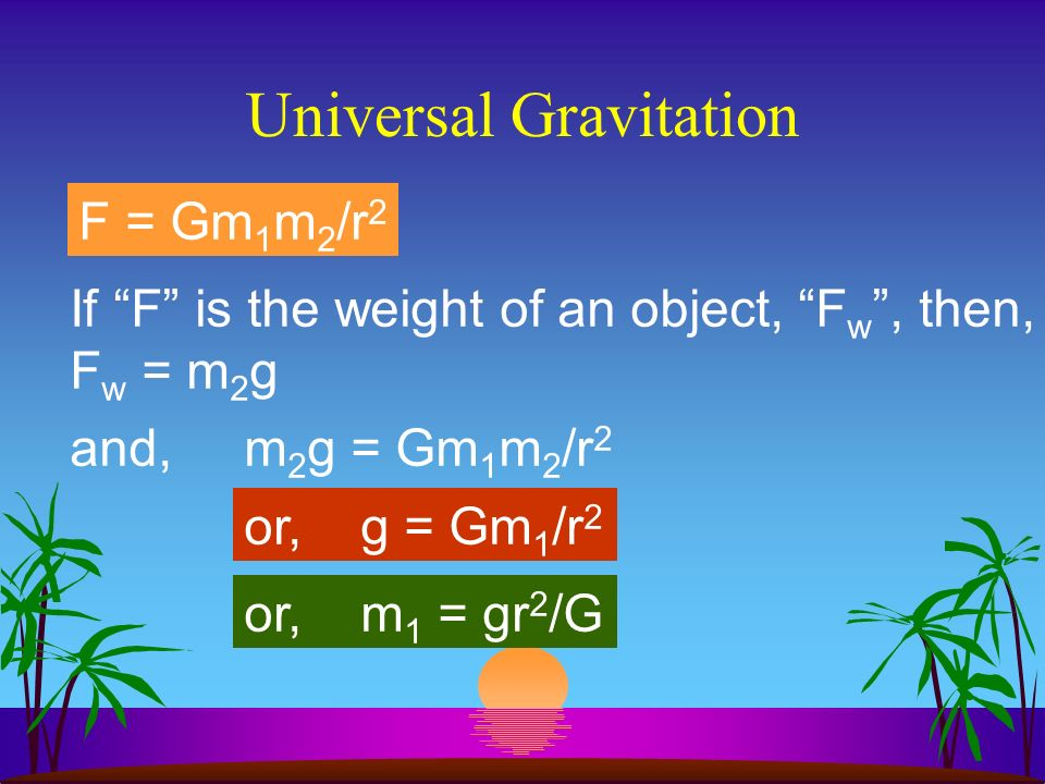 Universal Gravitation FEFE Force of Earth on moon FMFM Force of Moon on Earth F E = F M 3 rd Law Because of the 3 rd Law and the Inverse Square Law : F = Gm 1 m 2 /r 2