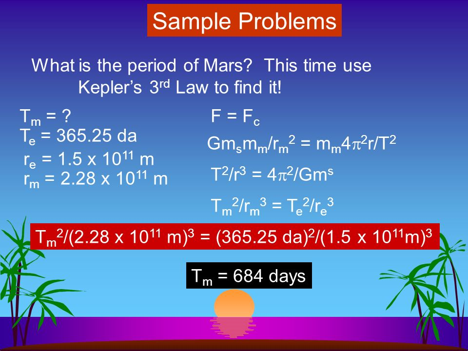 Sample Problems What is the period of Mars as it circles the Sun.