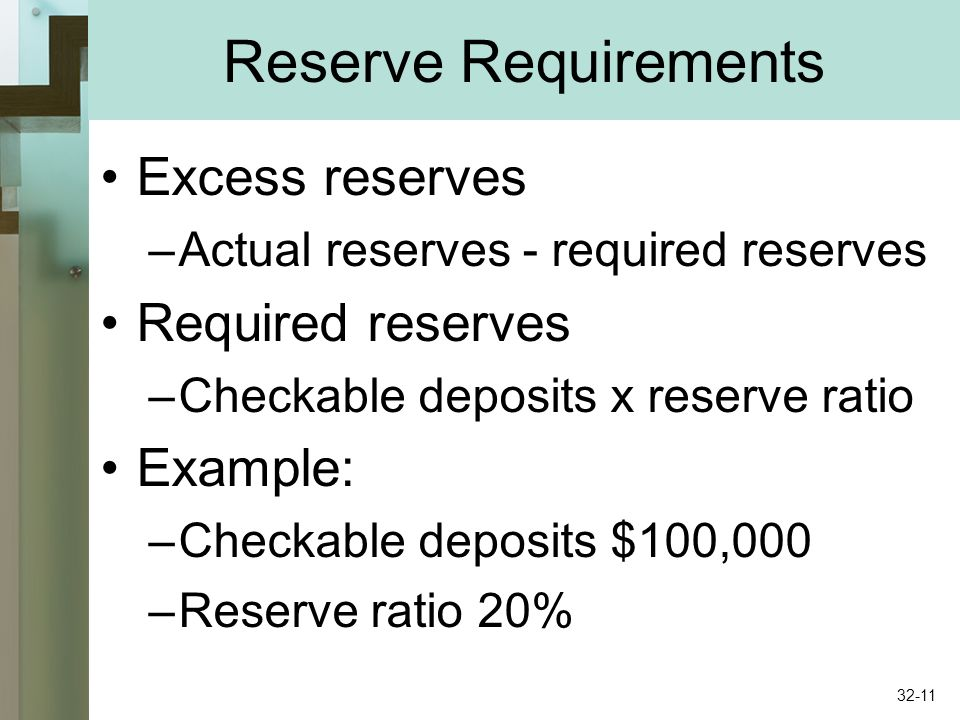 Reserve Requirements Excess reserves –Actual reserves - required reserves Required reserves –Checkable deposits x reserve ratio Example: –Checkable deposits $100,000 –Reserve ratio 20% 32-11