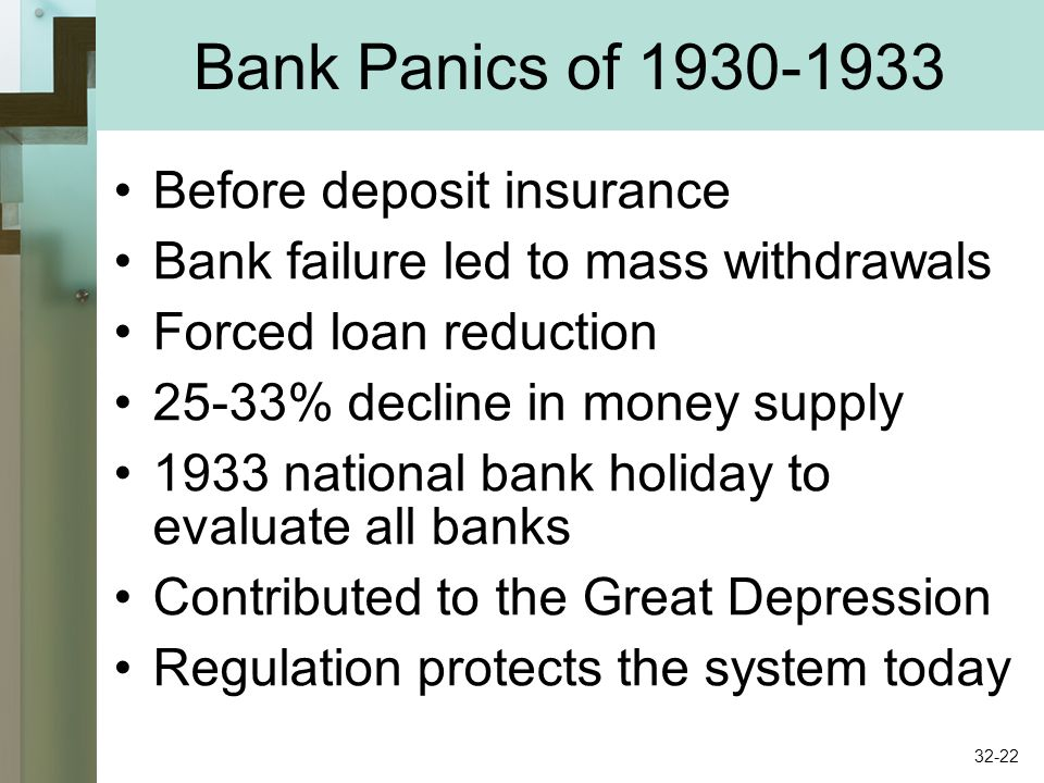 Bank Panics of 1930-1933 Before deposit insurance Bank failure led to mass withdrawals Forced loan reduction 25-33% decline in money supply 1933 national bank holiday to evaluate all banks Contributed to the Great Depression Regulation protects the system today 32-22
