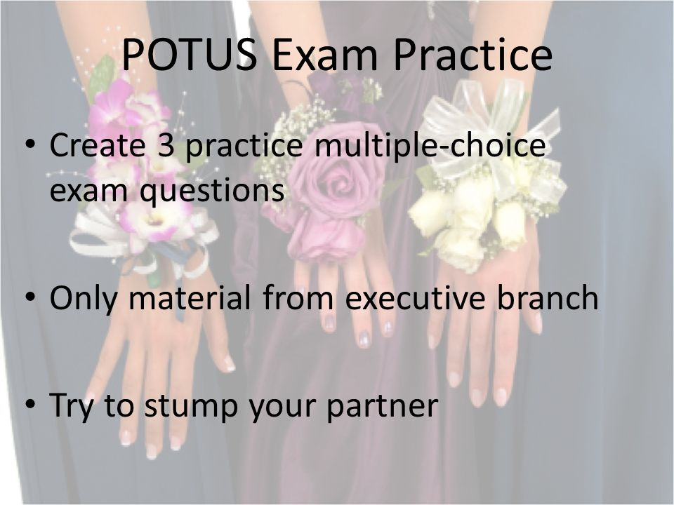 POTUS Exam Practice Create 3 practice multiple-choice exam questions Only material from executive branch Try to stump your partner