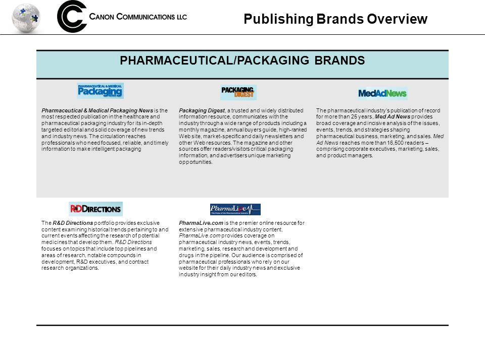 Publishing Brands Overview PHARMACEUTICAL/PACKAGING BRANDS Pharmaceutical & Medical Packaging News is the most respected publication in the healthcare and pharmaceutical packaging industry for its in-depth targeted editorial and solid coverage of new trends and industry news.
