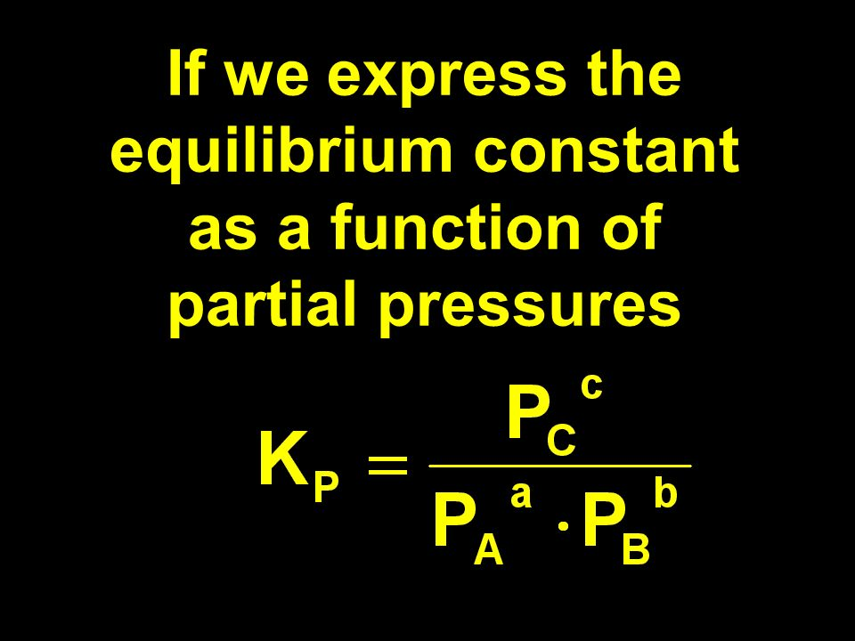 If we express the equilibrium constant as a function of partial pressures
