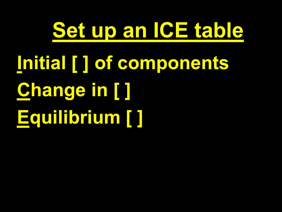 Set up an ICE table Initial [ ] of components Change in [ ] Equilibrium [ ]