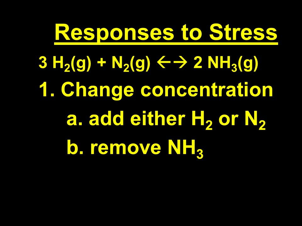 Responses to Stress 3 H 2 (g) + N 2 (g) 2 NH 3 (g) 1.