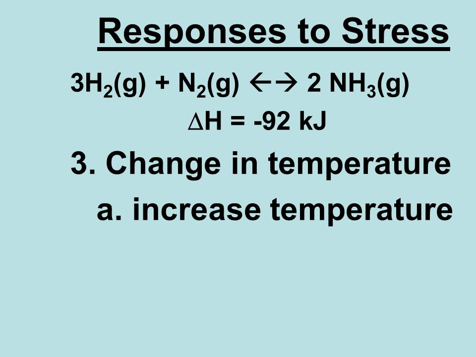 Responses to Stress 3H 2 (g) + N 2 (g) 2 NH 3 (g) H = -92 kJ 3.