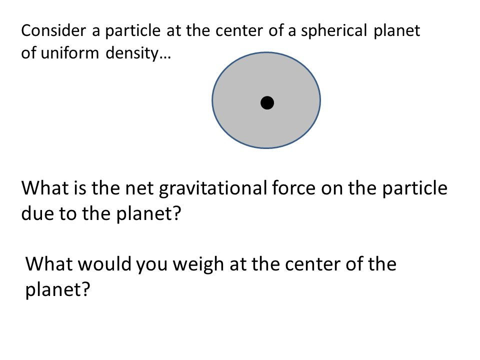 Consider a particle at the center of a spherical planet of uniform density… What is the net gravitational force on the particle due to the planet.
