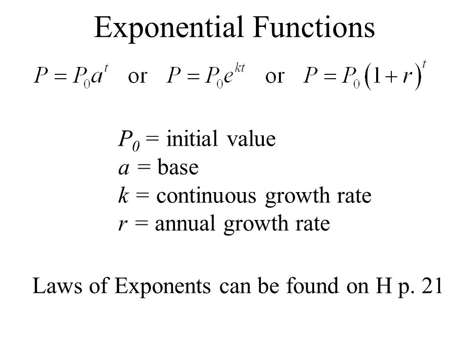Exponential Functions P 0 = initial value a = base k = continuous growth rate r = annual growth rate Laws of Exponents can be found on H p.