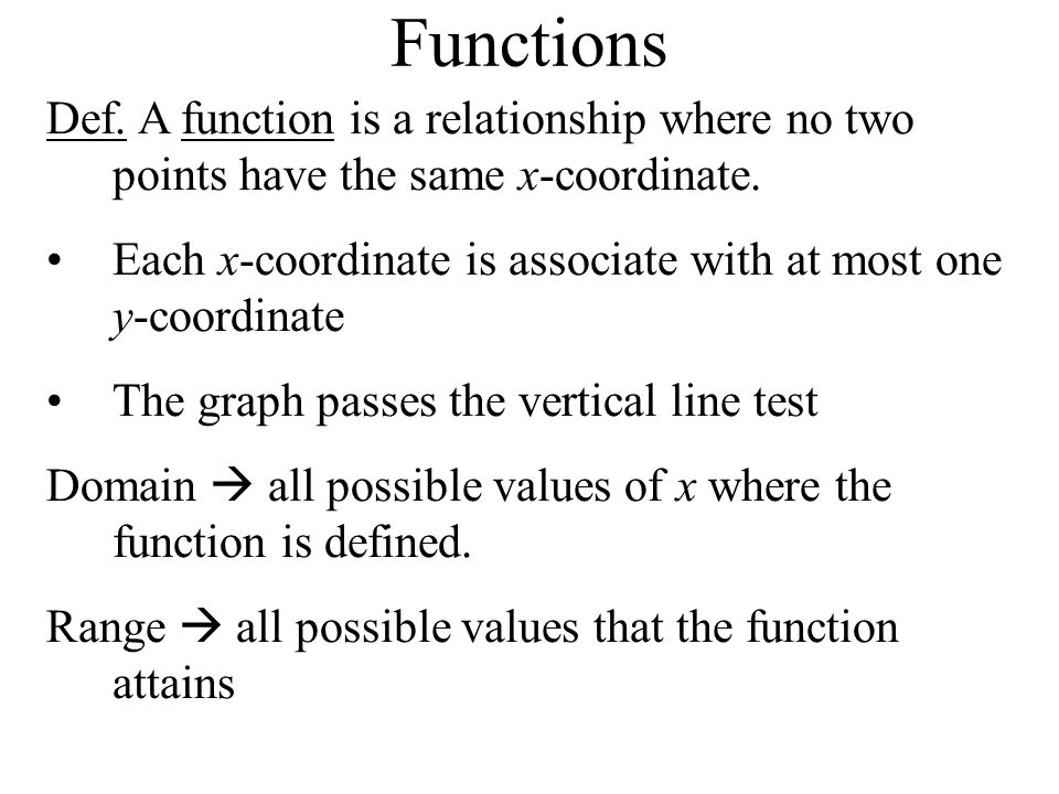 Functions Def. A function is a relationship where no two points have the same x-coordinate.