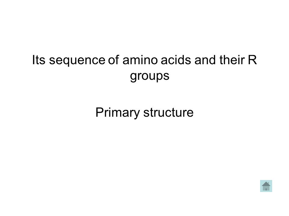 Its sequence of amino acids and their R groups Primary structure