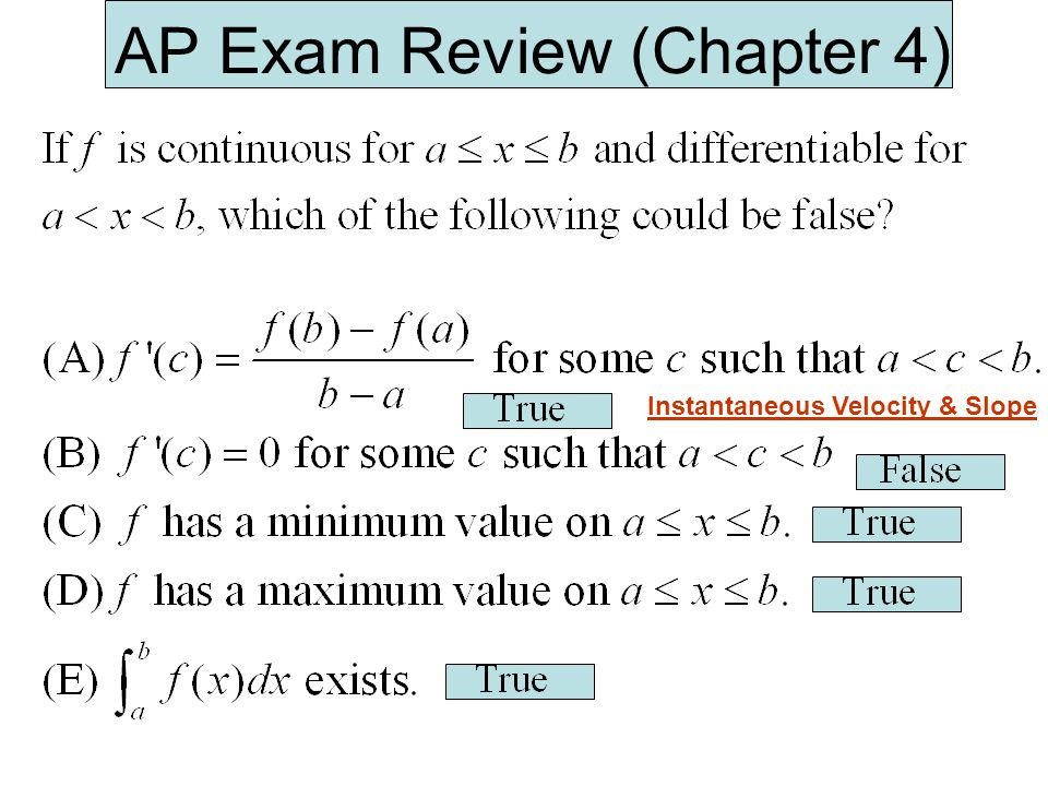 AP Exam Review (Chapter 4) Instantaneous Velocity & Slope