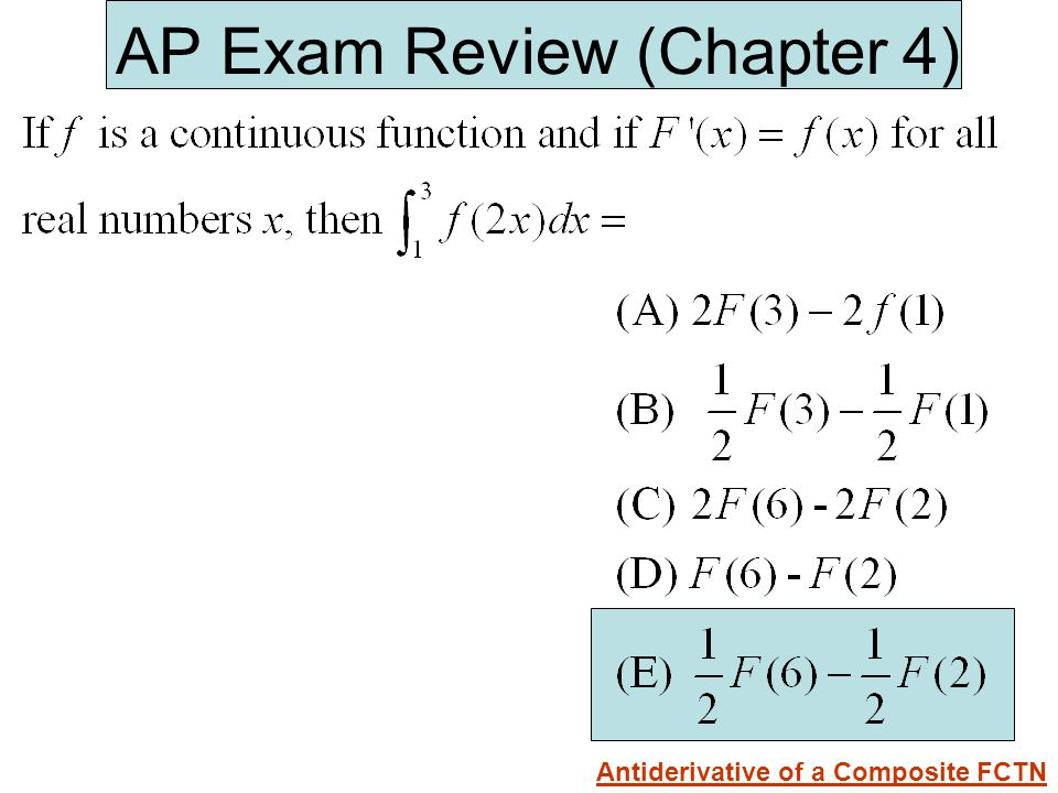 AP Exam Review (Chapter 4) Antiderivative of a Composite FCTN