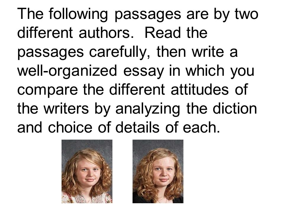 The following passages are by two different authors.