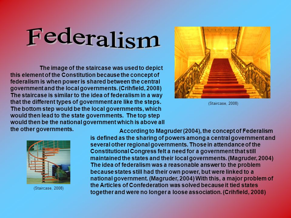 (Staircase, 2008) The image of the staircase was used to depict this element of the Constitution because the concept of federalism is when power is shared between the central government and the local governments.