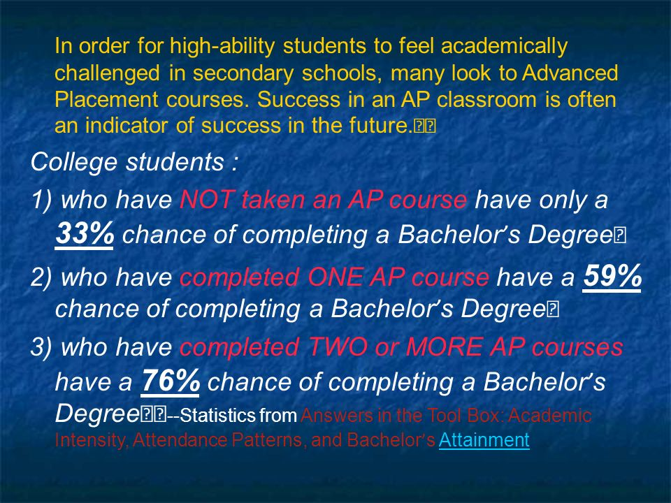 In order for high-ability students to feel academically challenged in secondary schools, many look to Advanced Placement courses.