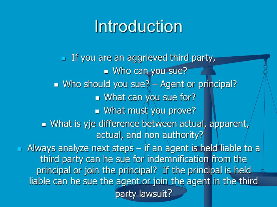Introduction If you are an aggrieved third party, If you are an aggrieved third party, Who can you sue.
