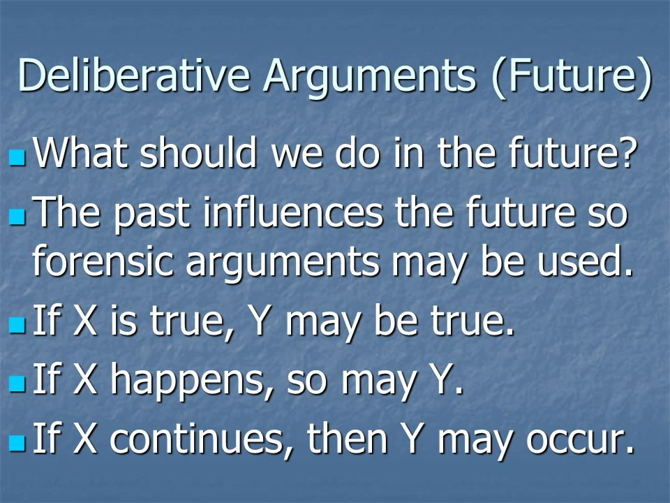 Deliberative Arguments (Future) What should we do in the future.