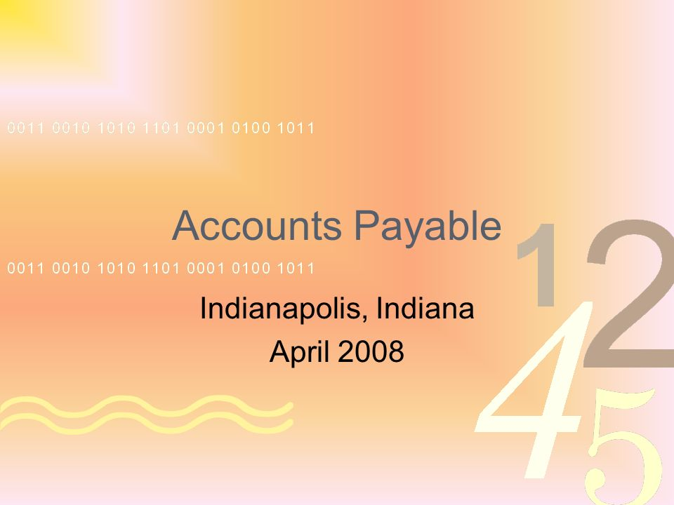 Accounts Payable Indianapolis, Indiana April 2008