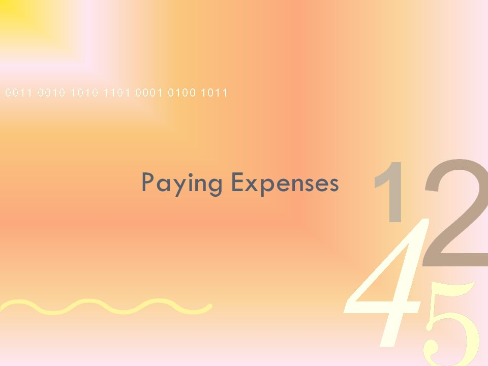 Paying Expenses